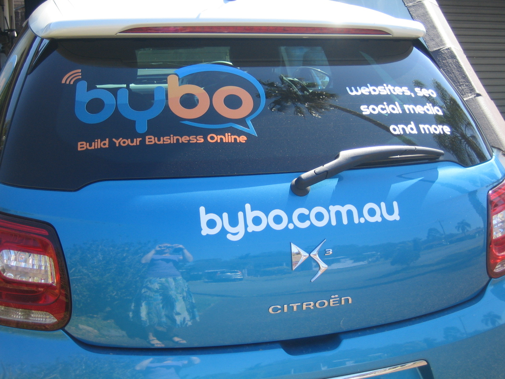 Build Your Business Online - BYBO car signage by Signs at the Bay